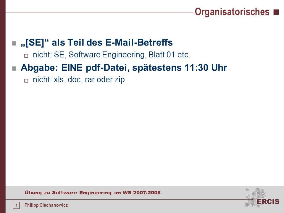 """Organisatorisches """"[SE] als Teil des E-Mail-Betreffs"""